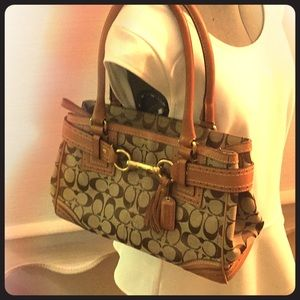 Traditional Coach Canvas Buckled Bag